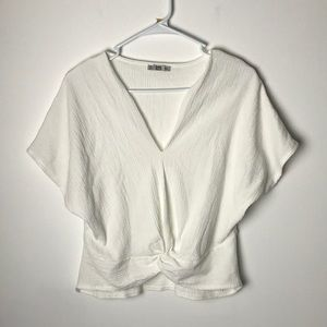 Zara front knot v neck white top M